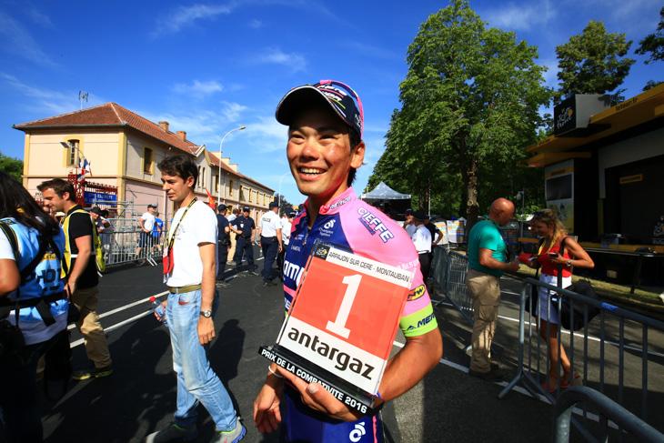 7月7日、ツール・ド・フランス2016第6ステージで逃げ、敢闘賞を獲得した新城幸也(ランプレ・メリダ)
