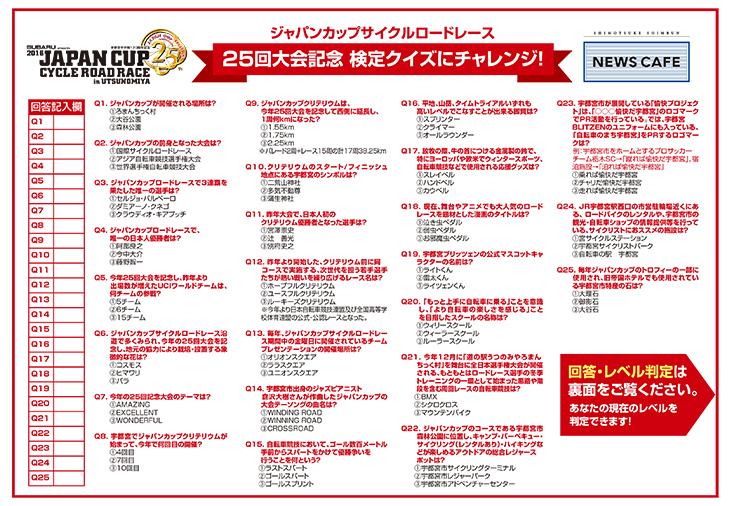 『ジャパンカップサイクルロードレース検定』のクイズが付いたオリジナルトレーシート