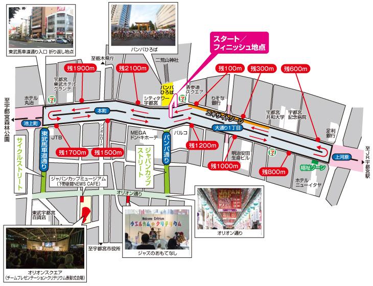 2016ジャパンカップクリテリウム コース周辺図(ジャパンカップストリート&サイクルストリート)