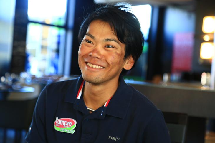 昨年のジャパンカップで3位表彰台を獲得、今季ランプレ・メリダに移籍し、大腿骨骨折からの復活を遂げ活躍中の新城幸也選手