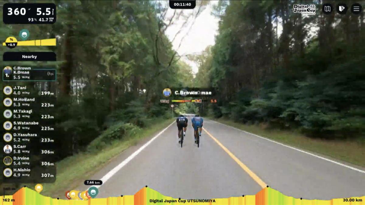 先頭で並走を続ける大前翔とコナー・ブラウン