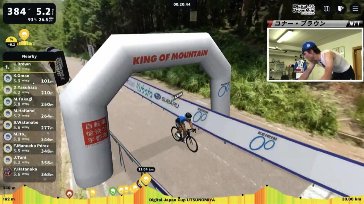 2周目の古賀志林道で大前翔を引き離したコナー・ブラウンが山頂を単独先頭で通過する