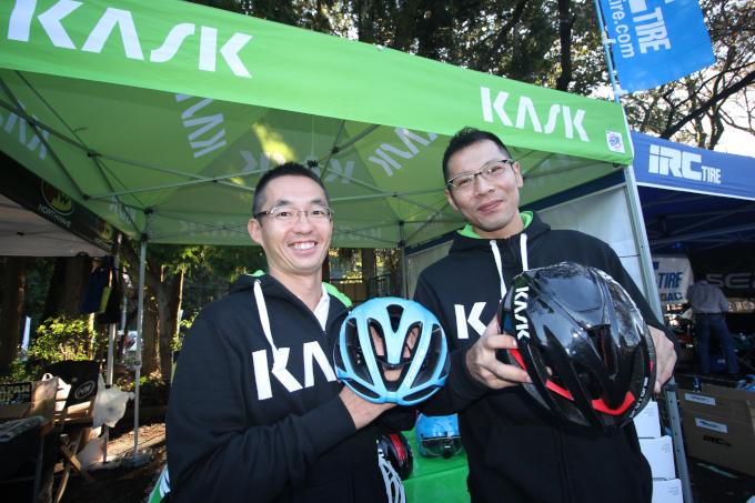 昨日のクリテリウムの上位入賞選手が使用するカスクのヘルメット