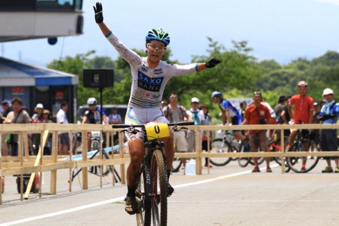 2014年全日本MTB XC女子チャンピオンの与那嶺恵理(サクソバンクFX証券)