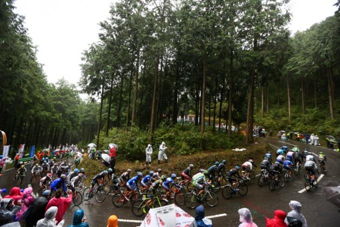 古賀志林道を登るメイン集団