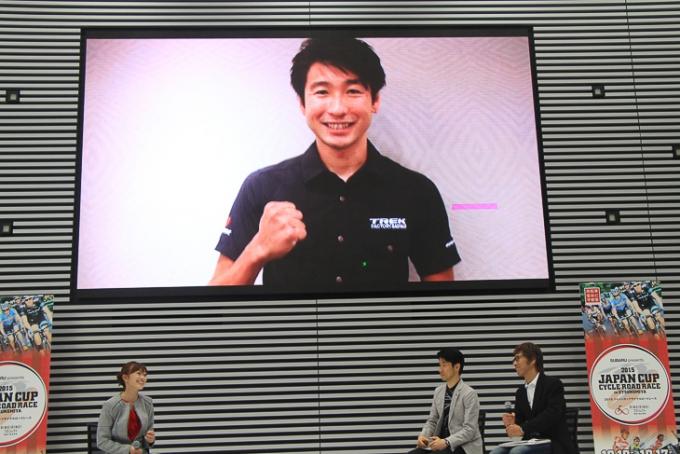 別府史之(トレックファクトリーレーシング)からのビデオメッセージが上映された