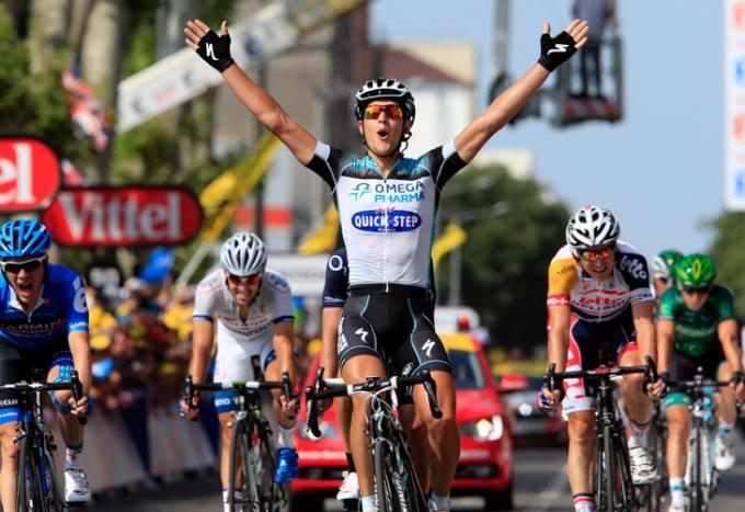 ツール・ド・フランス第14ステージで勝利を挙げたマッテオ・トレンティン(イタリア、オメガファーマ・クイックステップ)